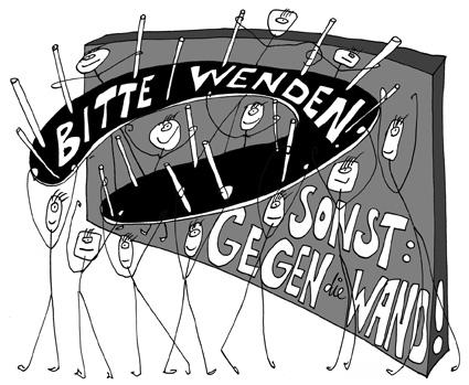 """Haben und Brauchen lädt ein: """"Bitte wenden. Sonst: Gegen die Wand!"""" Präsentation und öffentliche Diskussion des Konzepts für einen längerfristigen Dialogprozess zwischen freien und institutionellen Akteuren der zeitgenössischen Kunst und dem Berliner Senat."""