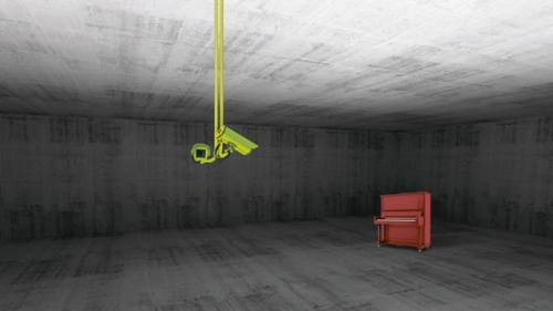 Abstract empty wide room concrete interior. 3d render