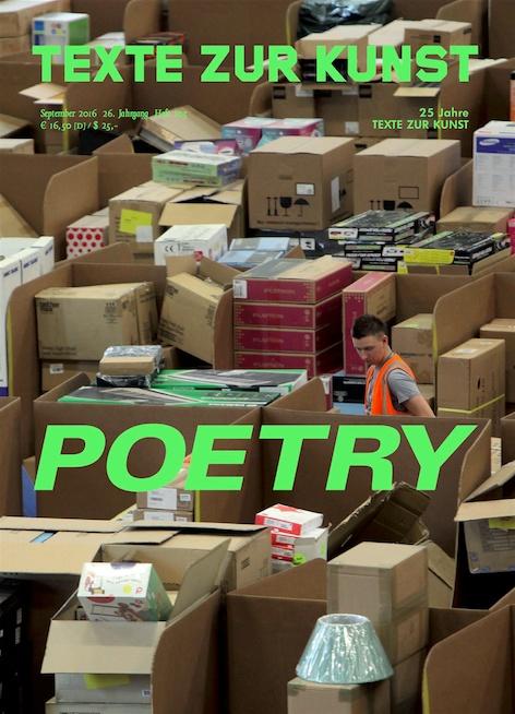 """Mit Ausgabe 103, """"Poesie/Poetry"""", widmet sich Texte zur Kunst der verstärkten Sichtbarkeit einer poetischen Sprache in Kunst und Kunstkritik und untersucht das mit dem Modell der/des """"artist-poet"""" auftretende Wechselspiel zwischen Politik, Affekt und Digitalität. Wenn sich heute jede/r auf Grundlage je individueller Erfahrungen ermächtigt fühlen kann, (von sich) selbst zu berichten, scheinen die Institutionen einer objektiven Kritik nicht mehr zu genügen. Was bedeutet somit die poetische Sprache für die Kritik? Populistische und anarchistische Poesie, Post-Jahrtausendwende-Netzpoesie, die Sprache der sozialen Medien, die Poesie als sprachlichen Mehrwert, sowie die objektgewordene kunsthistorische Poetik betrachtend, geht diese Ausgabe dem Zusammenhang zwischen der scheinbaren Unmittelbarkeit von poetry, ihrer oft hyperpersönlichen Stimme und dem aufmerksamkeitsökonomischen Gebot, vor allem Sichtbarkeit zu erlangen, nach."""